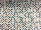 "French Petite Ikat Linen Blue/pink/Oatmeal 280cm/108"" wide Curtain Fabric"