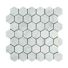 Carrara White Italian (Bianco Carrara) Marble 2 inch Hexagon Mosaic Tile