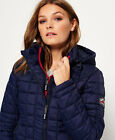 New Womens Superdry Hooded Box Quilt Fuji Jacket Ink