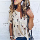 Women's Summer Floral Casual Loose Short Sleeve Cotton Tops T-Shirts Blouse New
