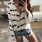 Women's Casual Loose V Neck Long Sleeve Lace Up Summer Blouse Shirt T-shirt Tops