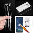 Tempered Glass Screen Protector + Ultra Thin Clear TPU Case for Samsung Phones
