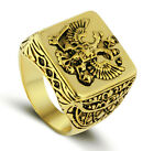 Brass Antique Vintage Style Gold Color Men's Eagle Ring Engraved Square Top M35