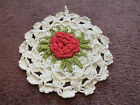 "Collectible Handmade Crocheted Pot Holder White Red Lime Rosette 5.5"" NICE"