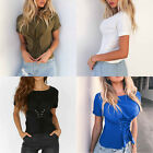 Fashion Women Lady Casual Tops Short Sleeve T-Shirt Summer Lace up Blouse Shirt