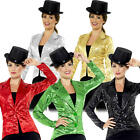 Sequin Tailcoat Ladies Fancy Dress Cabaret Carnival Circus Adults Costume Jacket