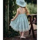 Toddler Girls Fashion Lace Swing Big Bowknot Floral Dress Halter Strap Dresses