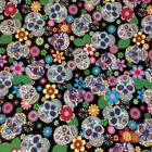 Black Funky Skulls Design, 100% Cotton Fabric, sold per 1/2 metre or Fat Quarter