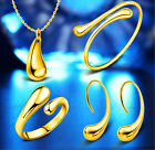 Gold Plated Earrinngs Wedding Necklace Ring bracelet Engagement New 1 Set 18k