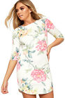 Womens Floral Print Bodycon Mini Dress Ladies Short Sleeve Stretch Slim New