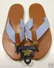 Brooks Brothers Men's White & Blue Check Thong Flip Flop Brown Sandals