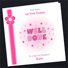 Personalised Well Done Card PN01 Congratulations On Your Exams Tests Pink Female