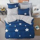 Navy Star Stripes Bed Pillowcase Quilt Cover Duvet Cover Set  Single Queen King