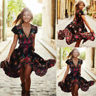 Womens Vintage Boho Long Maxi Evening Party Dress Summer Casual Beach Sundress