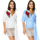 Women Summer V Neck Short Sleeve Floral Loose Casual Blouse Bandage Tops T-shirt