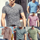 Stylish Mens Tee Shirt Slim Fit V Neck Short Sleeve Muscle Casual Top T-Shirts