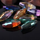 2pcs 32X13mm Big Rugby Oval Faceted Crystal Glass Charms DIY Loose Spacer Beads