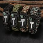 Survival Paracord Bracelet - Flint Fire Starter Whistle Compass Gear Tools Kits