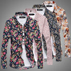 Fashion Mens Luxury Casual Floral Long Sleeve Slim Fit Button Down Dress Shirts