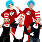 Cat in the Hat Adults Fancy Dress Dr Seuss World Book Day Womens Mens Costumes