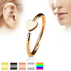 Titanium IP Heart Nose Cartliage Bar Tragus Helix Hoop Ring Bar 20ga (0.8mm)