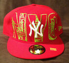New York Yankees NEW ERA 59FIFTY MLB Fitted Hat NYC City Sketch Red/Lime SIZE 8