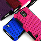 For Samsung Galaxy S5 APEX Hybrid Gel Perforated Hard Matte Soft Case Cover