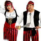 Plus Size Pirate Adults Fancy Dress Caribbean Buccaneer Voyager Book Day Costume