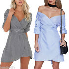 Womens Summer Casual Grid V-Neck Short Dress Off Shoulder Asymmetric Party Dress