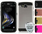 For LG X Venture / X Calibur /LV9 /LV9N Brushed Hybrid Cover Case + Glass Screen
