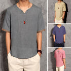 Fashion Mens Cozy Linen& Cotton Short Sleeve Casual T-shirts Stylish Shirts Tops