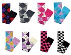 BLACK PURPLE RED SUMMER OVER KNEE ARGYLE CHECK SOCKS