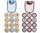 New Baby Boy Girl Perfect Picture Prop Bib Milestone tie 12 month Stickers