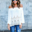 2017 Women Fashion Summer Sexy Off Shoulder Hollow Blouse Tops Shirt Plus Size