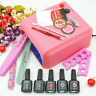 Nail Kit 36W Lamp For Nails 3 Colors 10ml Gel Polish Top Coat And Remover Files