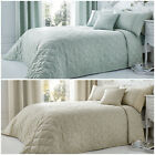 Floral & Leaves Patterned Quilted Bedspread - Rope Trimmed - 240 x 260 cm