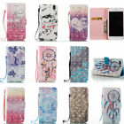 Diamond Flip Leather Card Stand Case Wallet Cover For Android Phone Samsung LG