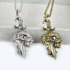 Luxury silver bronze Statement Rhinestone Punk skull Pendant Necklace Gem Chain