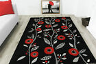 Contemporary Red Poppy Style Floral Rugs Small Large Non Shedding Modern Rugs