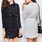 Womens Long Sleeve Slim Casual Striped Party Dress Cocktail Mini Shirt Dresse HX