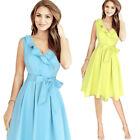 Womens Elegant Vintage Ruffles Frill Belted Bow Vintage Casual Work A-line Dress