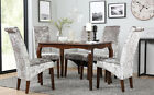 Clarendon & Boston Velvet Dark Wood Dining Table and 4 6 Chairs Set (Silver)