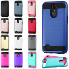 For LG Harmony M257 Brushed Metal HYBRID Rubber Case Phone Cover +Screen Guard