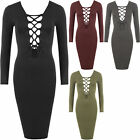 New Womens Lace Up Tied V-Neck Long Sleeve Ribbed Stretch Bodycon Ladies Dress