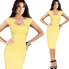 Women Sexy Square Neck Casual Wear to Work Business Bodycon Pencil Sheath Dress