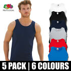 5 Pack Mens Fruit of the Loom Vest Tank Top Gym Athletic Training T Shirt Cotton