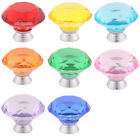Home Crystal Glass Furniture Drawers Cabinet Knobs 1.6 Inch Outer Dia 9 Pcs
