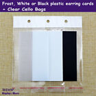 200 BLANK Earring Card + 200 Cello Bag | White or Black or Frost | AUSSIE Seller