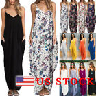 Womens Boho Long Maxi Dress Loose Plus Size Beach Evening Party Summer Sundress