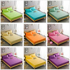 Cotton Solid Fitted Sheet Set Single/Queen/King Size Bed Pillow cases Plain Pure
